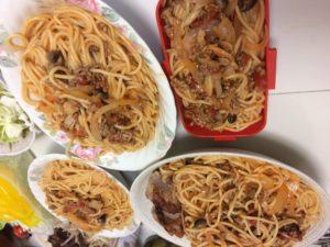挽肉とトマトのパスタ